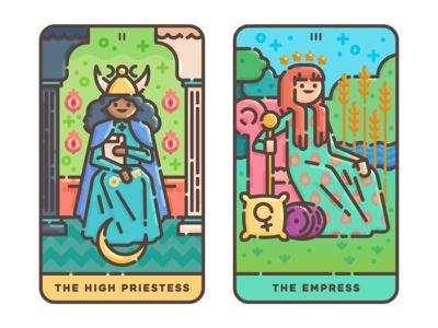 The High Priestess + The Empress empress priestess high priestess vector illustration tarot occult magic illustration flat illustration digital illustration cute cards