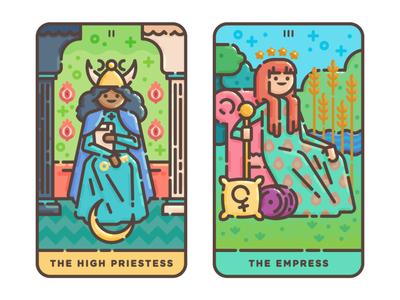 The High Priestess + The Empress empress priestess high priestess vector illustration tarot occult magic illustration flat illustration digital illustration cute cards