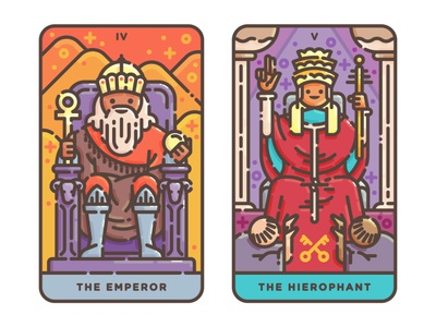 The Emperor + The Hierophant vector illustration tarot occult magic illustration hierophant flat design flat illustration emperor digital illustration cute cards