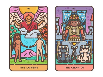 The Lovers + The Chariot chariot lovers vector illustration tarot occult magic illustration flat illustration flat design digital illustration cute cards