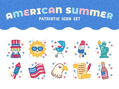 American Summer Icon Set eagle american flag statue of liberty uncle sam patriotic usa american america fourth of july independence day icons icon set