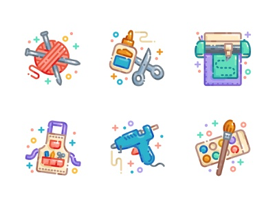 Arts & Crafts Icon Set flat illustration flat design cricut knitting crafting craft icon pack icon set icons digital illustration illustration