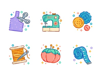 Sewing Icon Set flat illustration flat design buttons thread sewing machine craft crafting sewing icon set icons