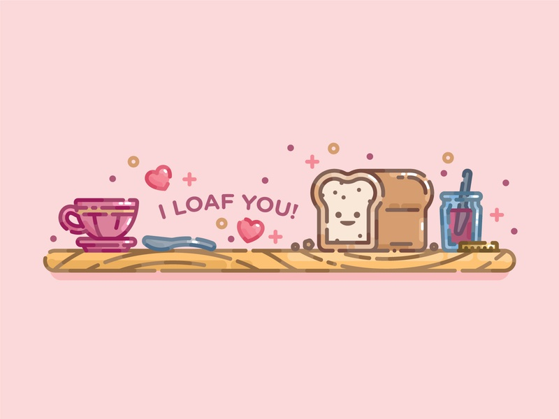 I Loaf You pastel cute bread monoline line art flat illustration digital illustration illustration