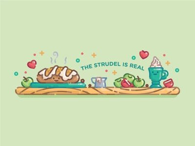 The Strudel is Real strudel cute pastel monoline line art flat illustration digital illustration illustration