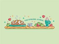 The Strudel is Real strudel cute pastel monoline line art flat illustration digital illustration illustration
