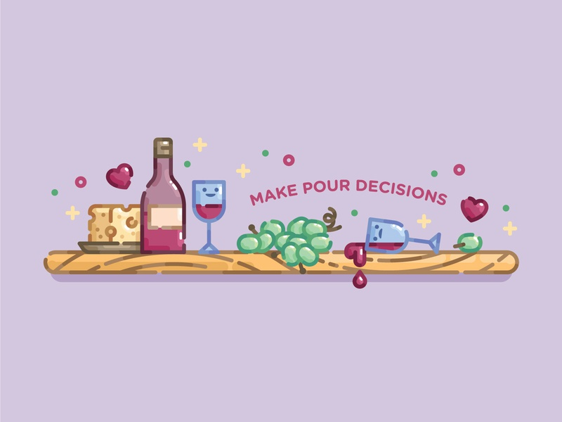 Make Pour Decisions wine pastel cute monoline line art flat illustration digital illustration illustration