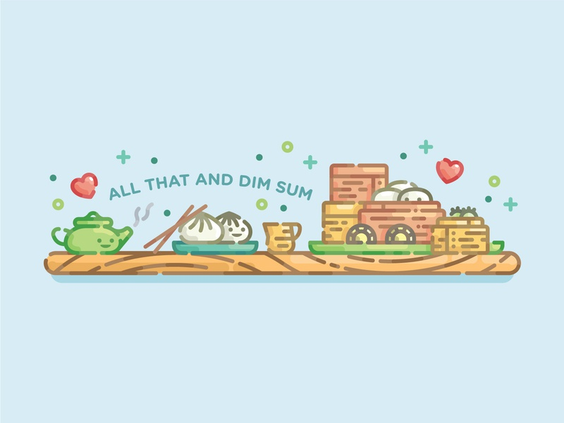 All That and Dim Sum pun dim sum food food pun cute line art monoline flat design flat illustration digital illustration illustration