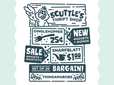 Scuttle's Thrift Shop retro ad illustration thrift shop typography monoline line art dinglehopper scuttle little mermaid the little mermaid disney