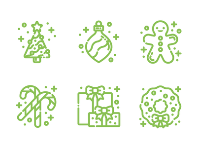 Christmas Icons winter gingerbread man gingerbread presents gifts candy cane wreath ornament tree christmas tree holiday christmas illustration icons icon