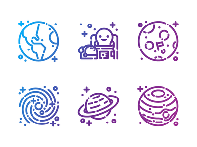 Space Icons solar system saturn nasa space travel moon landing astronaut galaxy planet moon earth space illustration line art icon set icons icon