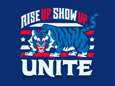 Rise Up Show Up Unite asian american unite vote biden tiger minneapolis handlettering illustration design lettering