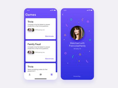 Unused game app concept screens
