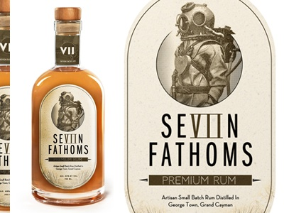 Seven Fathoms Rum Label spirits print monochromatic rum mockup nautical packaging alcohol