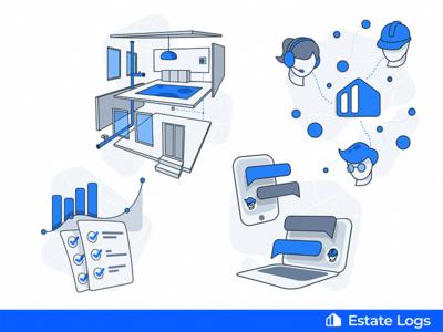Estate Logs website illustrations