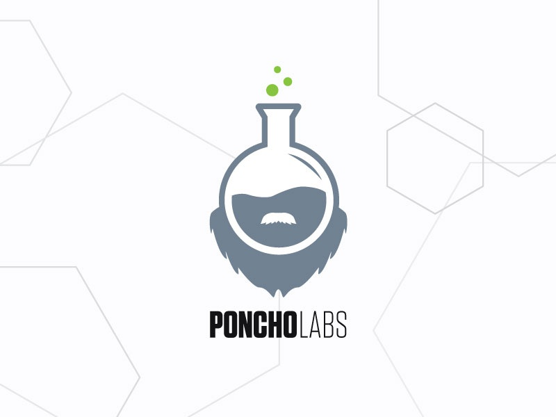 Poncho Labs beard concept flask logo science labs