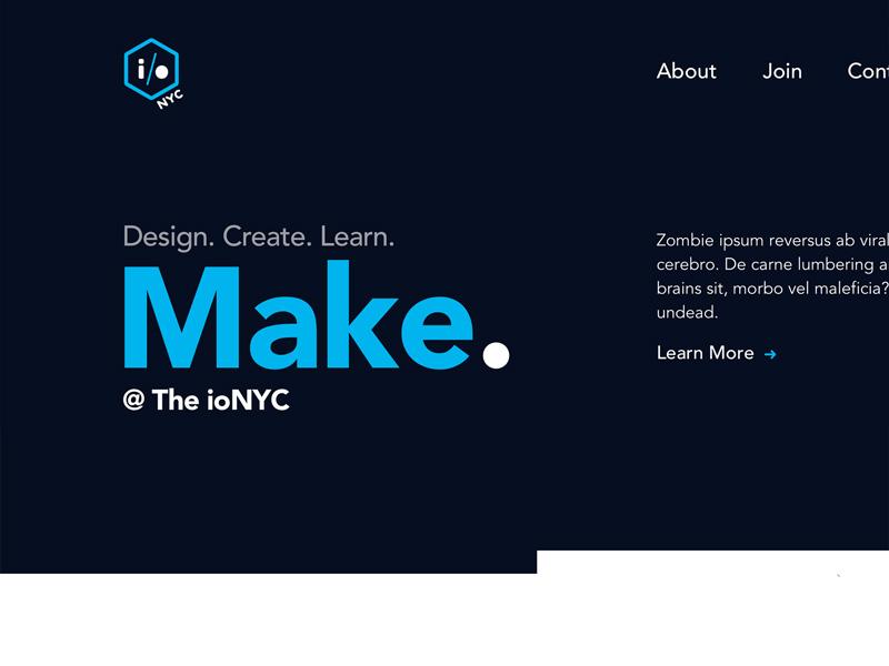 Makerspace Site IP avenir web ui ipsum mock landing