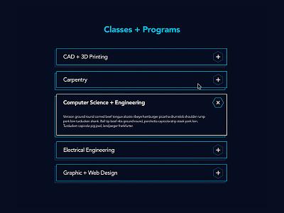 ioNYC Classes + Programs mock landing avenir web ui makerspace