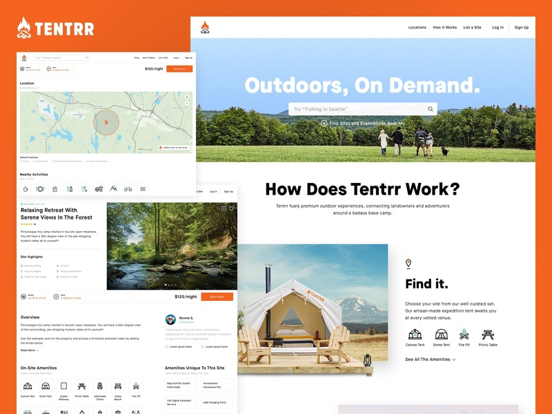 Tentrr Redesign made in nyc travel site visual layout ux ui refresh redesign