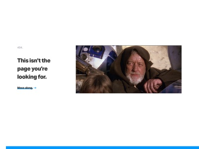 This isn't the 404 you're looking for... obi-wan error portfolio 404 page 404