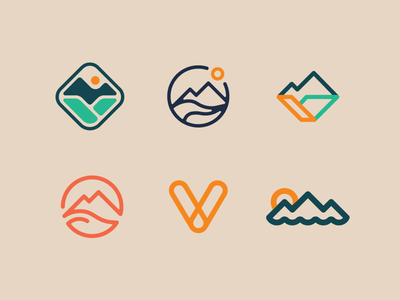 Logo Concepts for a Thing_v1 mcwhorter seth graphic design river v mountain nature outdoor badge mark logo