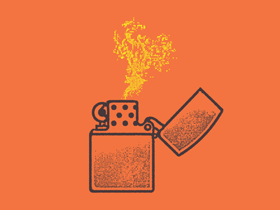 Never Been a Smoker graphic design mcwhorter seth sketching drawing illustration zippo orange fire lighter