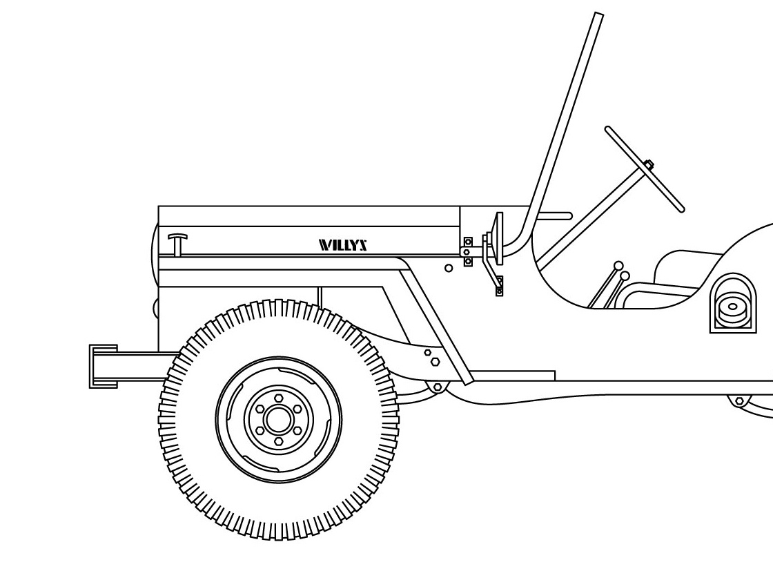 Willys CJ WIP army willys jeep vector drawing illustration design seth mcwhorter