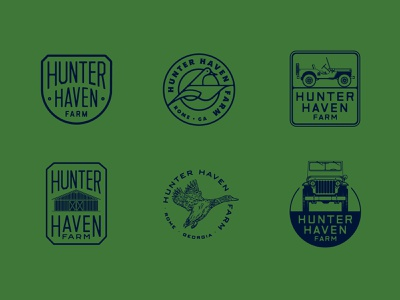 HHF Logos hunting duck willys jeep farm vector badge mark typography drawing graphic illustration logo seth design mcwhorter