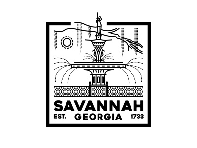Savannah Badge graphic drawing illustration logo seth mcwhorter vector line art line square mark badge design goergia savannah