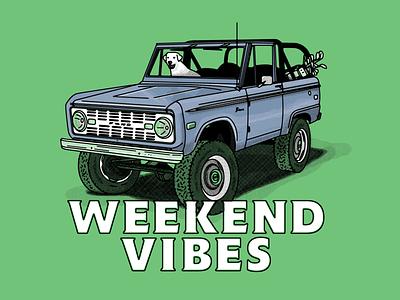 Weekend Vibes bronco ford tshirts tshirt product graphic illustration design seth mcwhorter