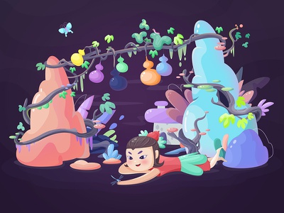 Gourd doll gourd cartoon illustration forest colour