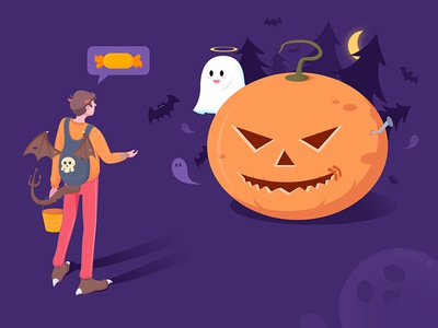 Halloween orange cute color illustration