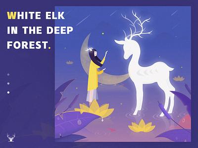 White deer in September september calendar illustration