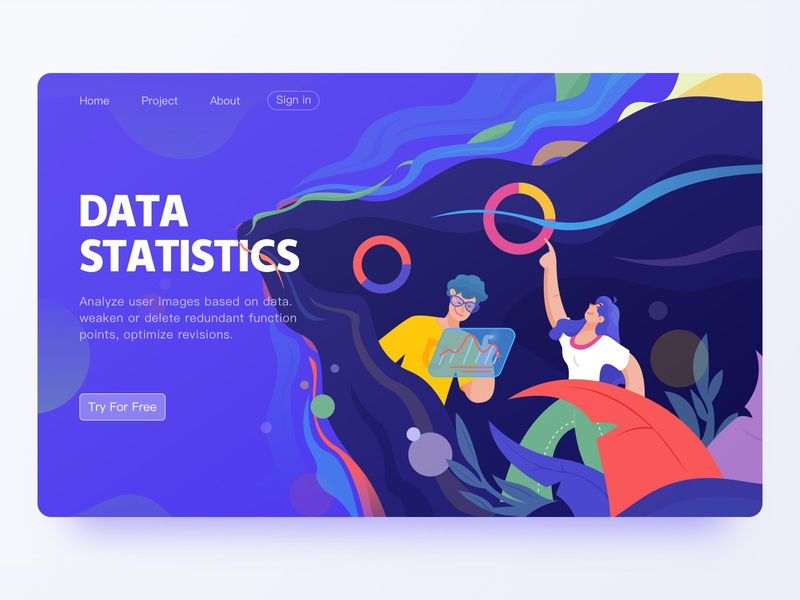 Data Statistics ui web illustration
