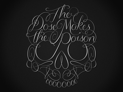 The Dose Makes the Poison lettering skull
