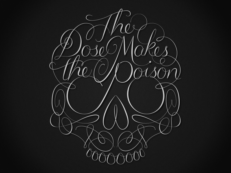 The Dose Makes the Poison lettering skull copperplate