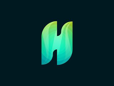 H modern logo branding logo 2021 green gradient abstract logo logos h logo logo maker illustration l o g o hand lettering diffart modern logo h monogram h letter logo concept logo creative brand identity logo design