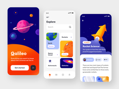 Space Exploration App mobileui orange purple ui ux article rockets minimalist planets colorful universe space android ios androidapp illustration app ui app appdesign