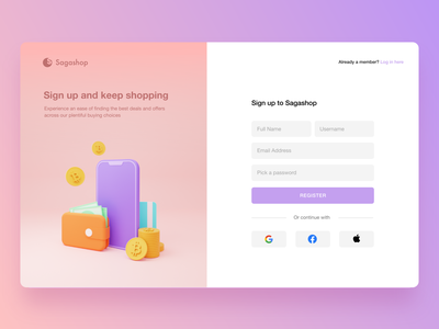 Sign Up Page for Sagashop 3d icon 3d illustration 3d registration sign in log in purple website uiux ux webdesign ui