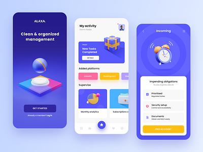 App design for Alaxa 3d app 3d icon 3d yellow interface application app design mobile app design purple blue ux uiux ui