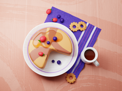 Pancake and Coffee Illustration blueberry strawberry cup plate web app fresh coffee pancake food food illustration web illustration app illustraiton uiux illustration 3d pancake 3d illustration 3d