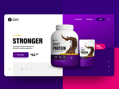 Protein Company Web/Package Design whey uxdesign modern purple gradient web buy now colorful creative blueberries chocolate white purple webdesign website webshop protein userinterface uiux ui ux
