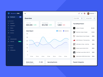 Blueberry CRM - Dashboard Template Interaction webapp web ux uiux ui template sales dashboard design dashboad crm admin