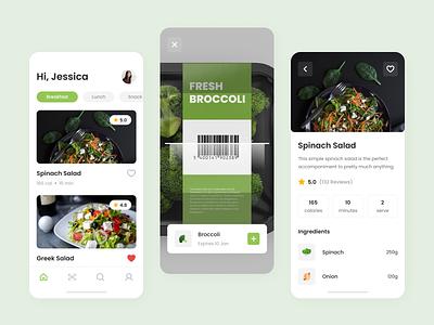 Food Scanner Mobile App scan app scanner scan cooking recipe app recipe food app food uxui ux ui mobile app mobile
