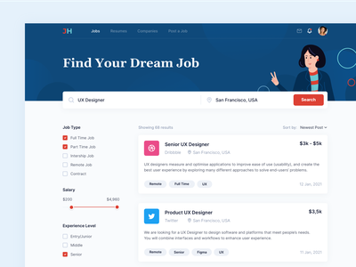 Job Search Platform job list job search job application job board job filter search uxui ui ux webapp web