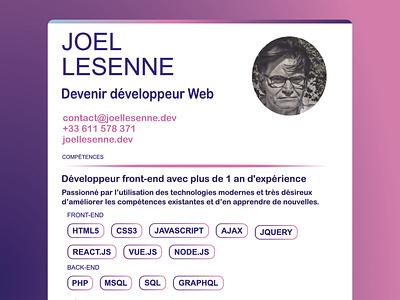 CV resume – Web developer – Joel Lesenne web minimalist design cv design poster typography website cv resume