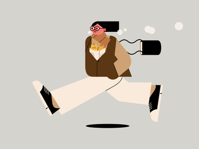 Running girl with fish breads glasses girl running drawing iconic simple photoshop graphic design fish bread people illustration winter person minimal vector flat design illustration