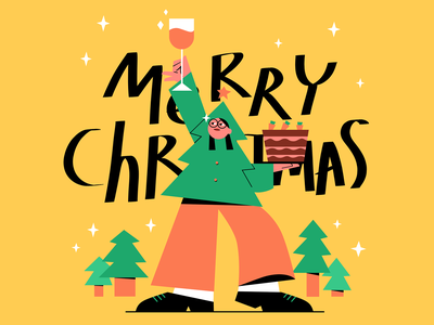 2019 Merry Christmas iconic minimal event christmas character people illustration 2d illustration graphic design flat drawing