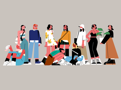 Simple Fashion girls ui simple girl character people illustration iconic illustration graphic design flat drawing