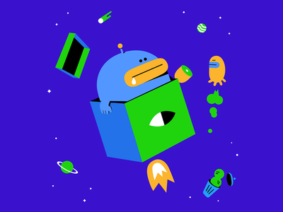 Alien with Box UFO in Space character design space alien vector character 2d illustration graphic design flat drawing